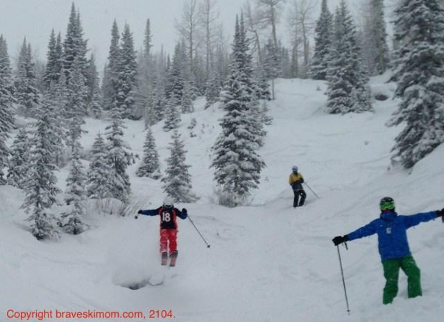 teens skiing