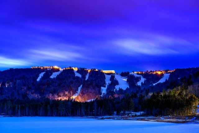 snowshoe mountain at night