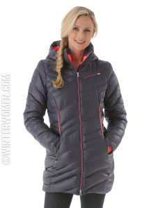 spyder long down jacket