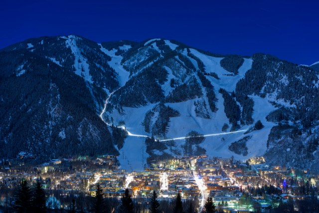 aspen mountain at night