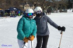 two ski moms enjoying a ski day at afton alps minnesota