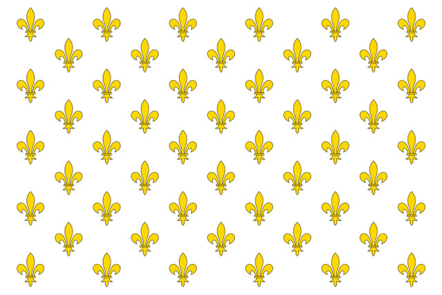 flag of the kingdom of france, gold fleur des lis on a white background