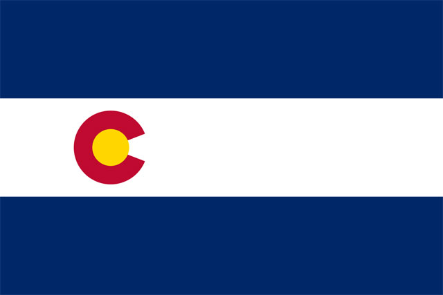 A variation of the Colorado flag with a small C