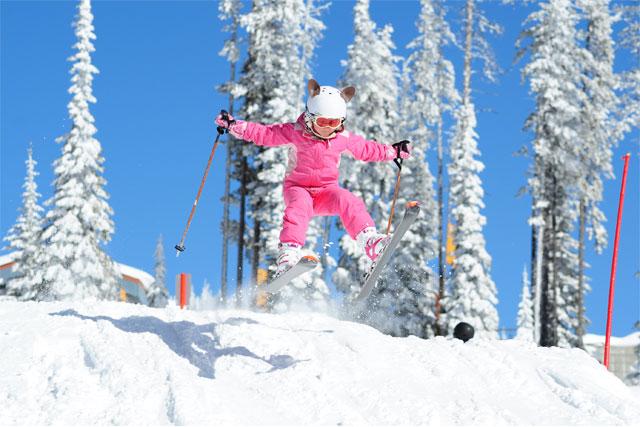 big white family skiing
