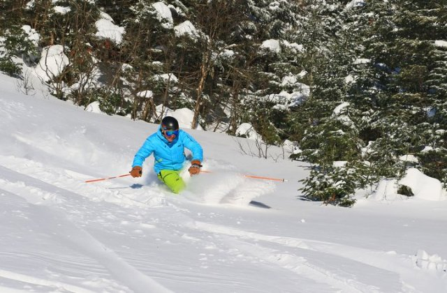 december powder skiing at Stowe