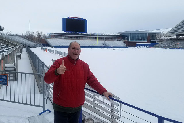 blue turf covered by snow at boise's albertsons stadium