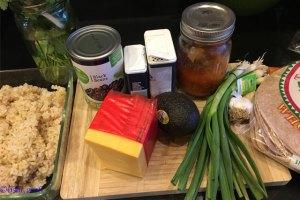 ingredients for veggie burritos