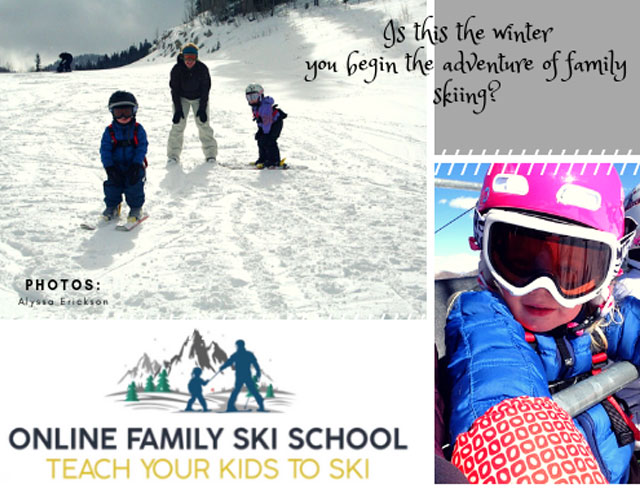 online family ski school teach children to ski