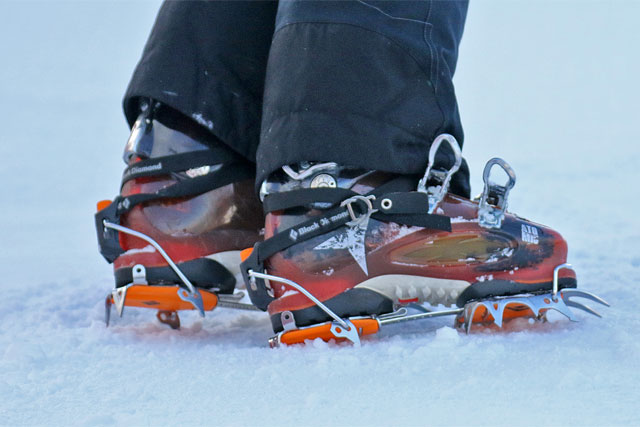 To stay upright on the snow crampons help