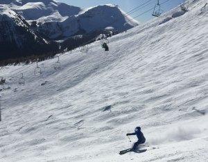 skiing joyously