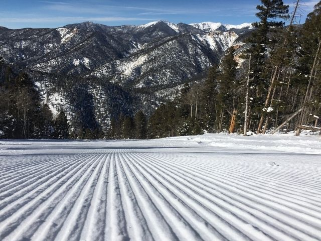 perfectly groomed corduroy skiing at red river new mexico are one of five reasons to ski red river