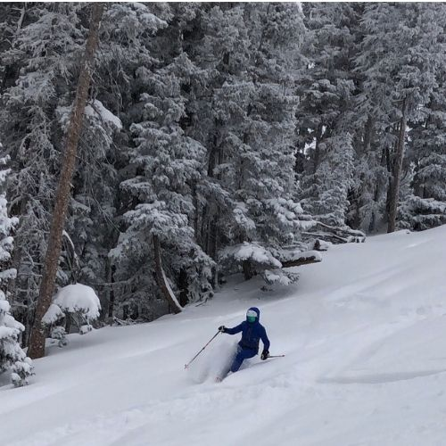 One of Five Reasons to Ski Angel Fire: Powder that lasts for day! Here, on Hell's Bells in an area called The Steeps.