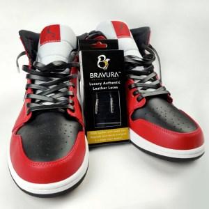 Black Leather by Bravura Laces on Retro Air Jordan 1's
