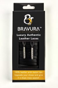 Black Leather Laces with metal plated tips