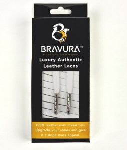 White Leather Laces with metal plated tips
