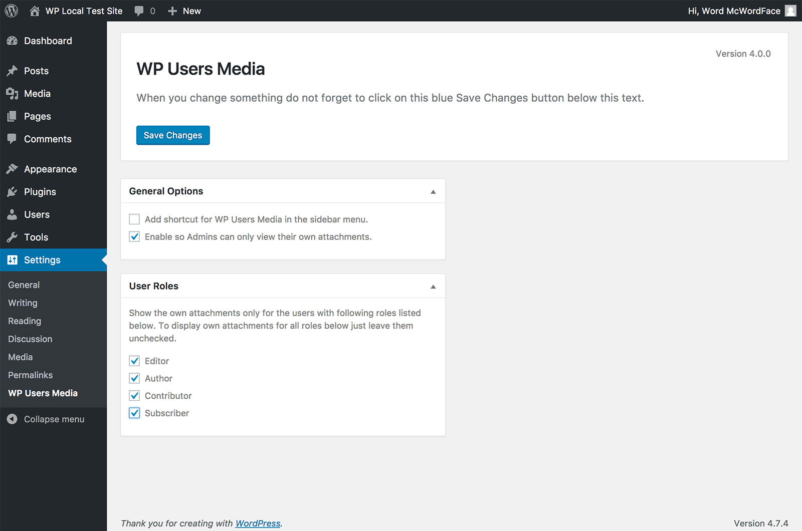 Screenshot showing the settings screen for the WP User Media plugin