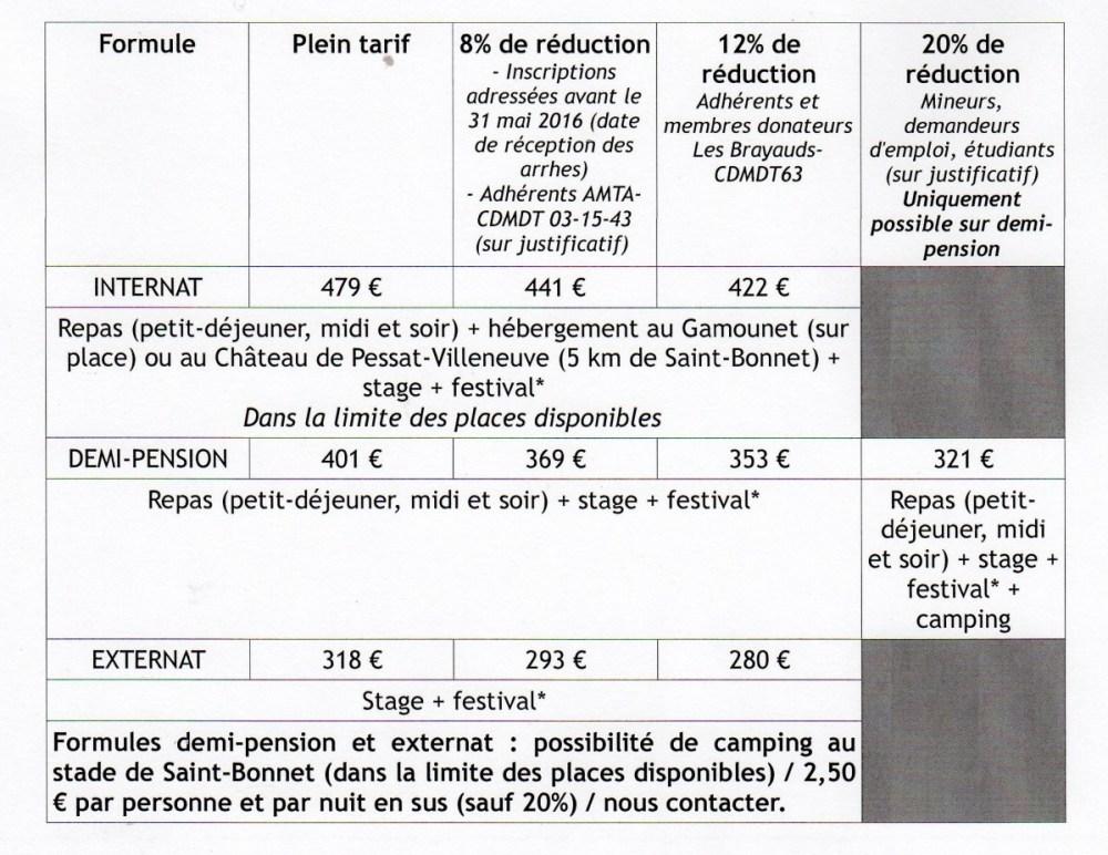 16 tb tarifs stage site001
