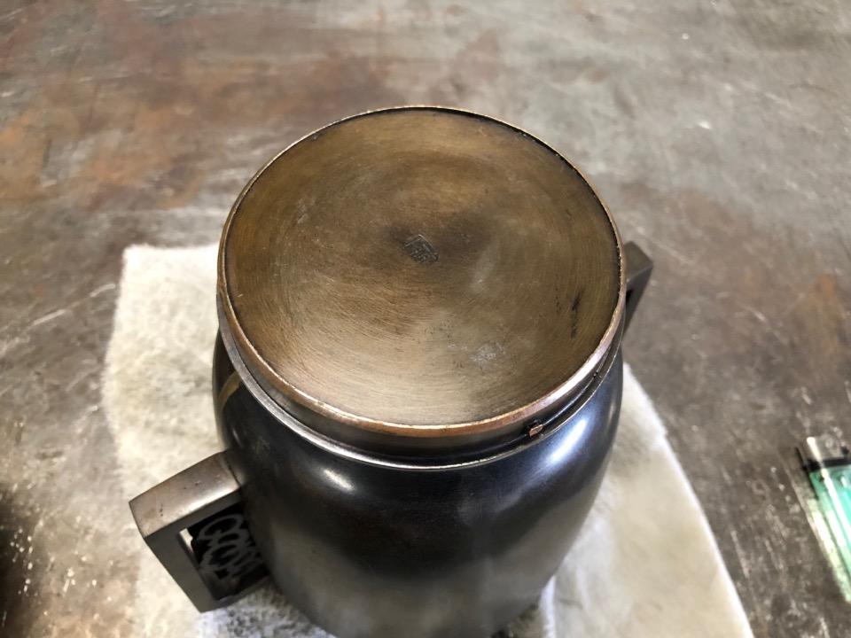 真鍮製花瓶の修理