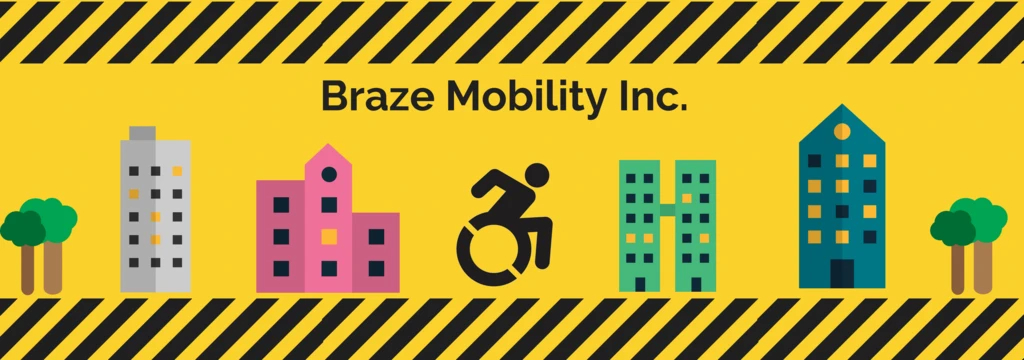 Braze Mobility image with trees, buildings and the centre of the accessibility symbol