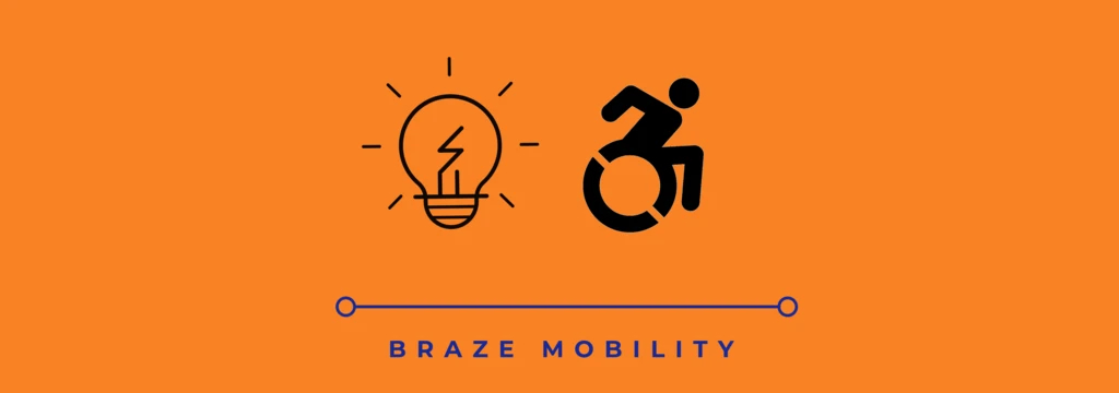 Braze Mobility with a lightbulb and the accessibility symbol
