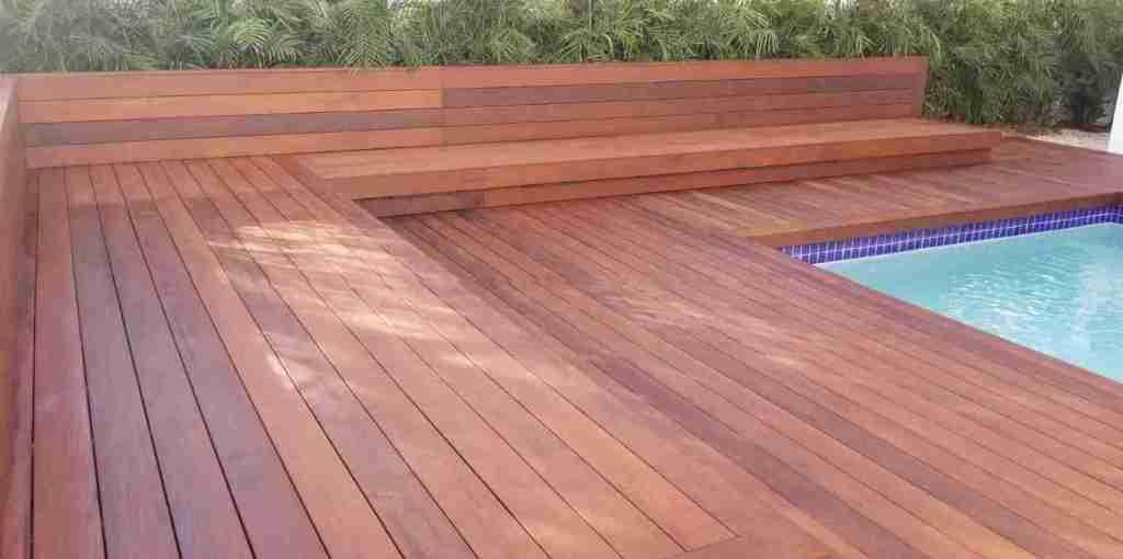 Ipe lumber installed around pool