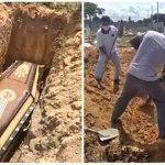 Coveiros fazem greve por falta de pagamento e família precisa abrir cova para enterrar idosa