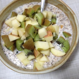 Bonus look at what my breakfast looks like most days. Oats, yogurt, cinnamon, and chia seeds soaked overnight. + fruit in the morning.