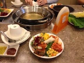 Whee kimchi, kabocha salad, seaweed salad, dotorimuk, salad, radish