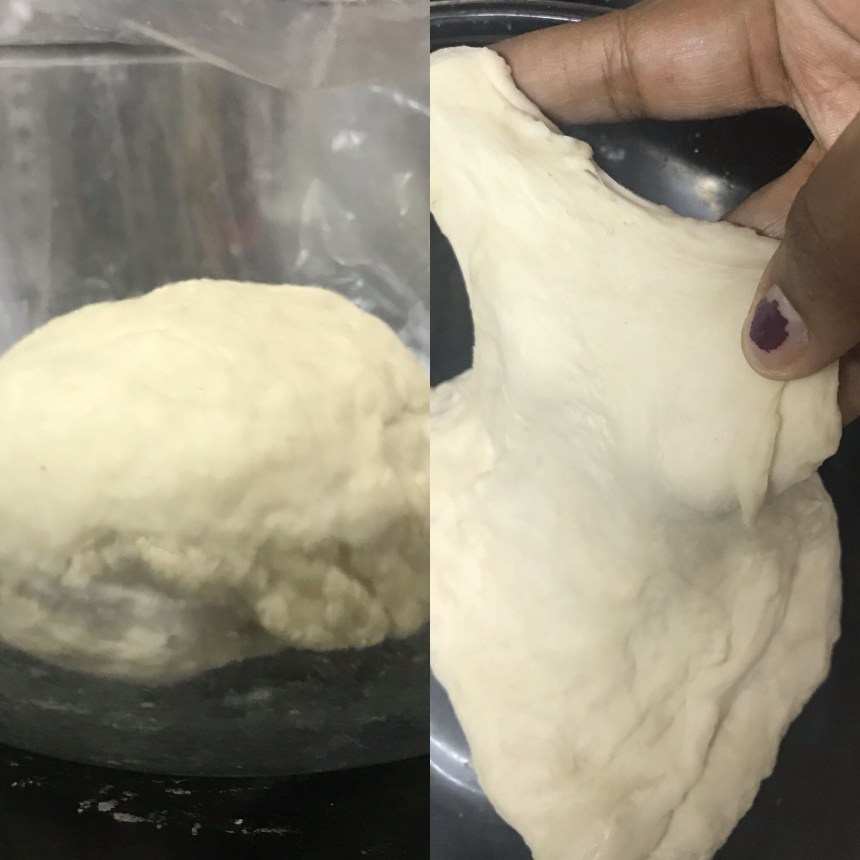 Dough shows good strength after autolyse