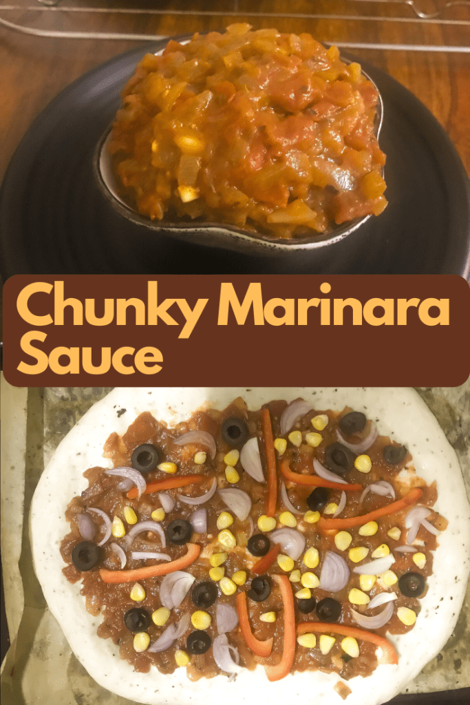 Pizza prep with chunky marinara sauce