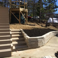 Native Indiana Limestone wall and steps by patio