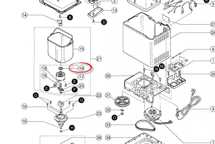 Panasonic breadmaker seal drive shaft rubber ASD191U103-K