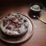 Flourless raspberry, almond and chocolate cake