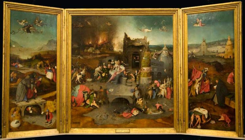 The Temptation of St. Anthony c. 1501, Triptych 131 x228 cm, Lisbon