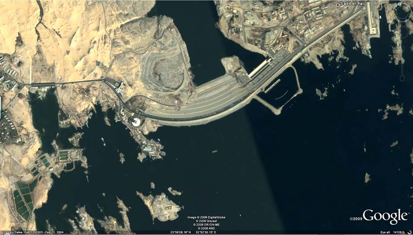 Satellite image: Insightdigital & Google, Aswan High Dam 2009