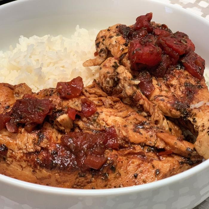 tomato and italian chicken dish over rice