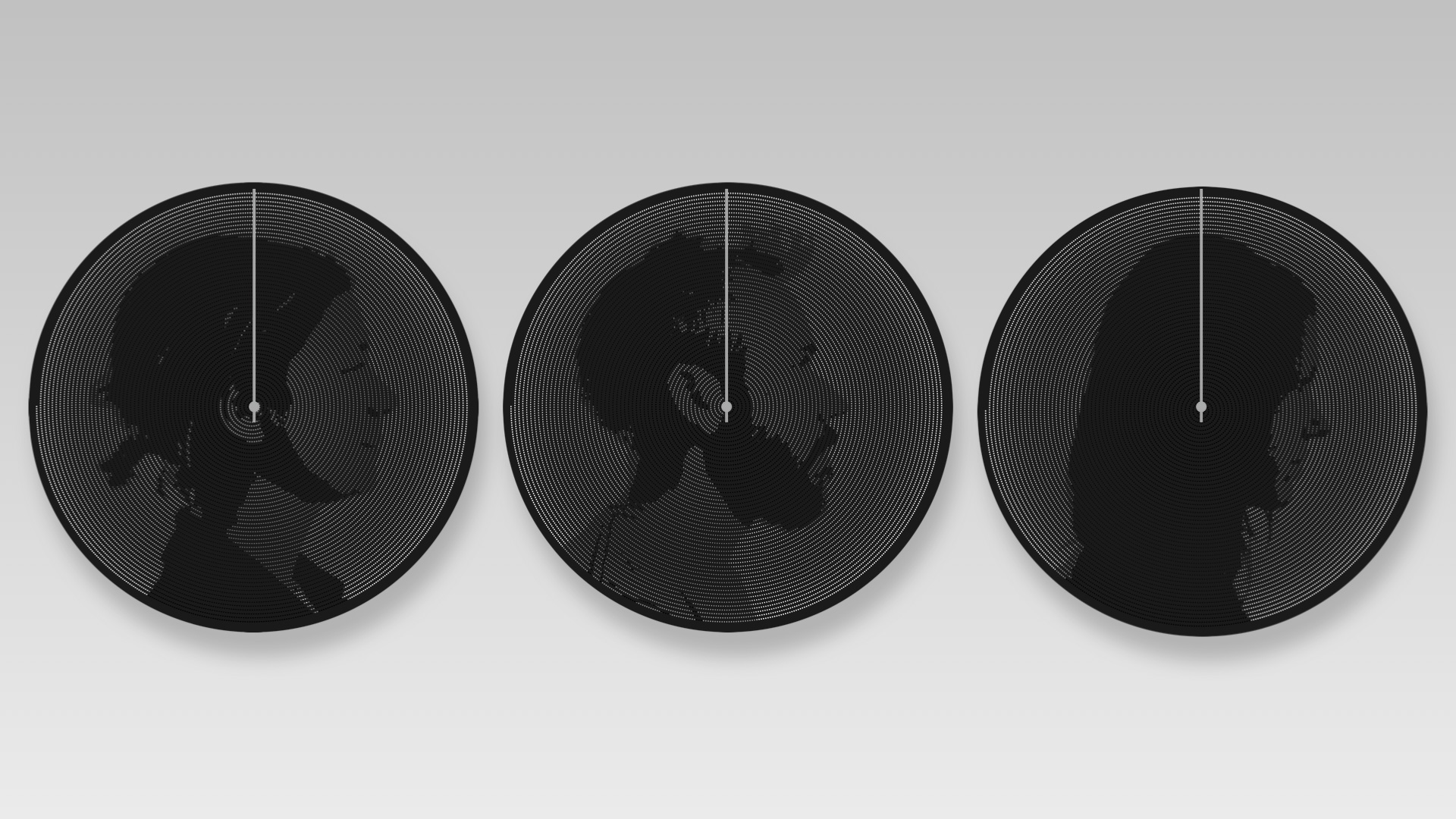 Series of three Silhouette kinetic pin artworks each showing a different persons face. Created by BREAKFAST.