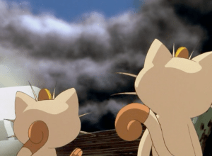 Pokemon The First Movie Meowth and Clone Meowth
