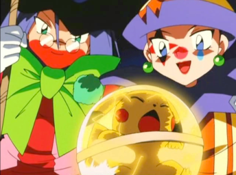 Pokemon Jirachi Wish Maker Team Rocket as clowns