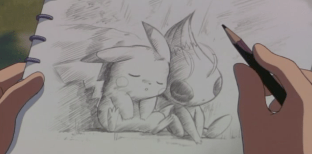 Pokemon 4Ever Pikachu and Celebi drawing