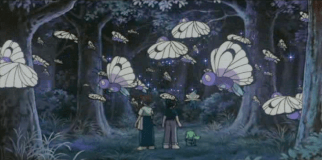 Pokemon 4Ever Ash Ketchum and Samuel watch Butterfree