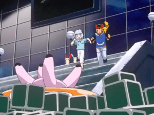 Pokemon Destiny Deoxys Ash Ketchum and Tory find hot dog machine