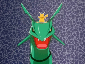 Pokemon Destiny Deoxys Pikachu on Rayquaza's head