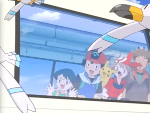 Pokemon Destiny Deoxys Ash Ketchum, Pikachu, Brock, May and Max