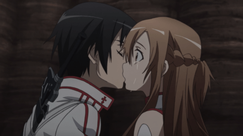 Sword Art Online Kirito kisses Asuna