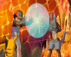 Pokemon: Lucario and the Mystery of Mew Ash and Lucario using aura