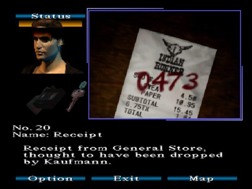 Silent Hill PS1 Kaufmann sidequest Receipt code