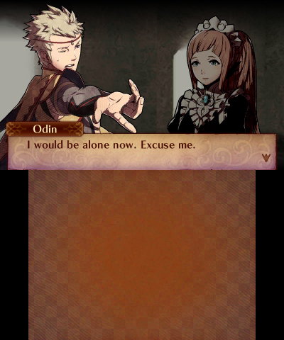 "Fire Emblem Fates Odin ""I would be alone now. Excuse me."""