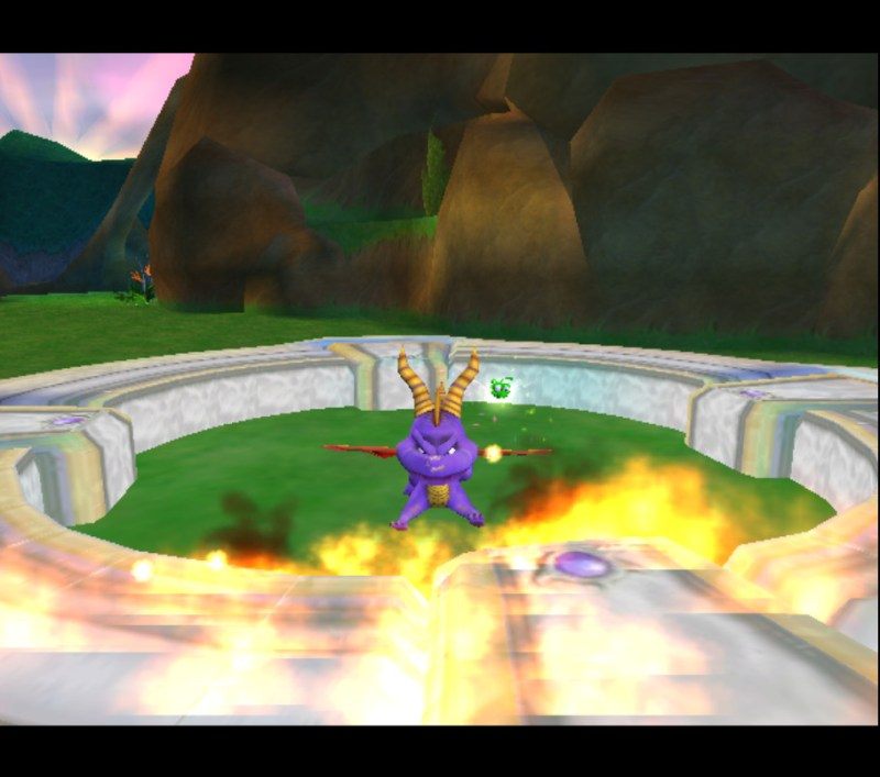 Spyro: Enter the Dragonfly gameplay Dragon Realms Spyro breathing fire animation