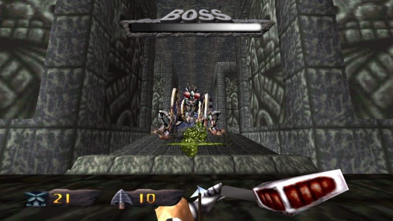 Turok: Dinosaur Hunter Remastered giant praying mantis boss
